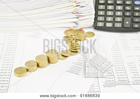 Bankruptcy Of House And Step Pile Of Gold Coins