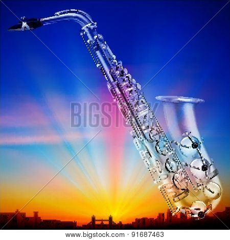 Abstract Sunrise Background With City And Saxophone
