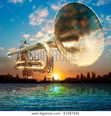 Abstract Background With Silhouette Of London And Trumpet