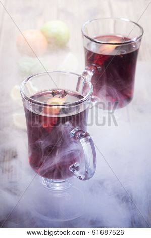 Mulled Wine In The Glasses