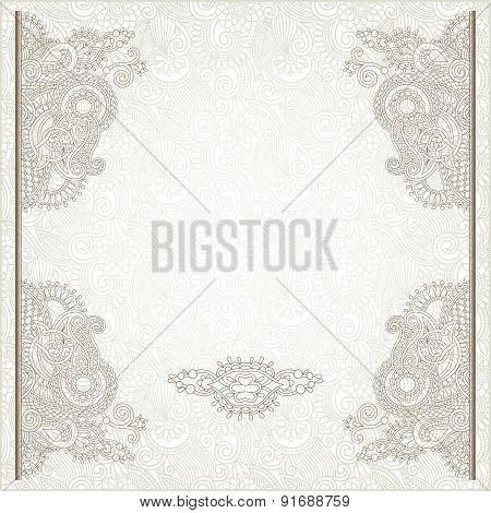 light floral frame on paisley background with place for your tex