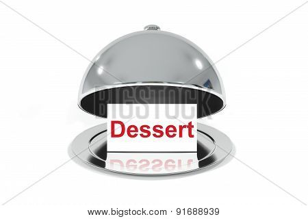 Opened Silver Cloche With White Sign Dessert