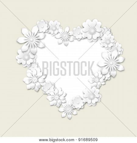Floral Frame In Shape Of Heart