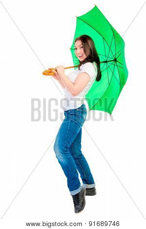 Cheerful Young Woman With A Green Umbrella Cane