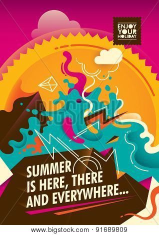 Abstract summer poster design in color. Vector illustration.