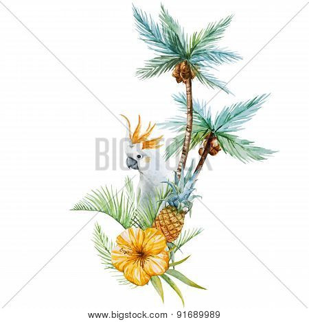 Watercolor tropical palm