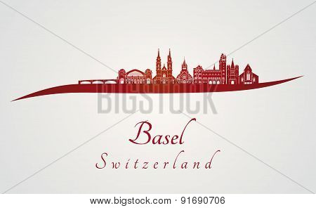 Basel Skyline In Red