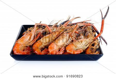 Plate Of Grilled Shrimps Isolated On The White Background