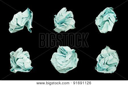 Set of 6 Balls Crumpled Paper.