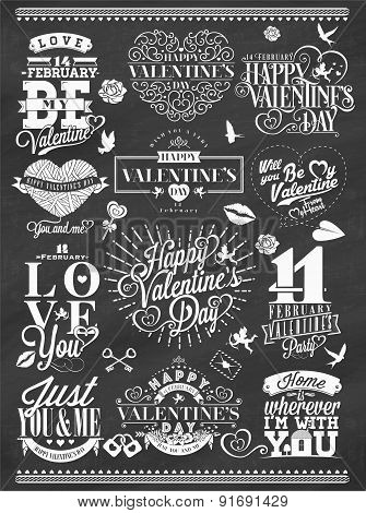 Set Of Happy Valentine's Day Hand Lettering - Typographical Background On Chalkboard With Ornaments,
