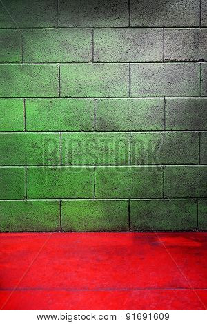 Empty Room With Red Floor And Green Cement Wall