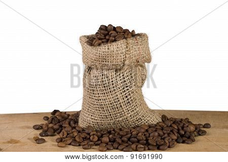 bag of coffee on white background