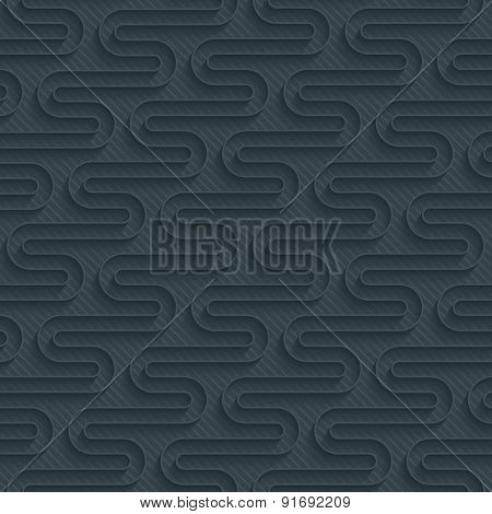 Dark perforated paper with outline extrude effect. 3d seamless background.