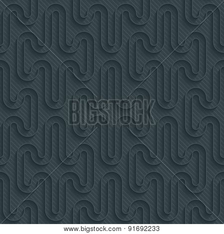 Dark perforated paper with outline extrude effect. 3d seamless background. Vector EPS10.
