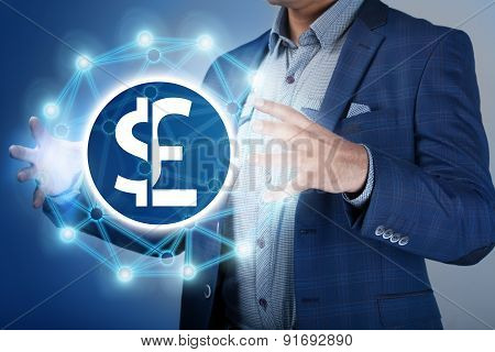 Businessman Make Money And Save Money On Virtual Screens. Business, Technology, Internet, Concept.