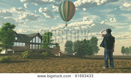 The Man Is Looking At The Hot Air Balloon