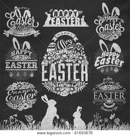 Easter Typographical Set With Flowers And Rabbit On Chalkboard