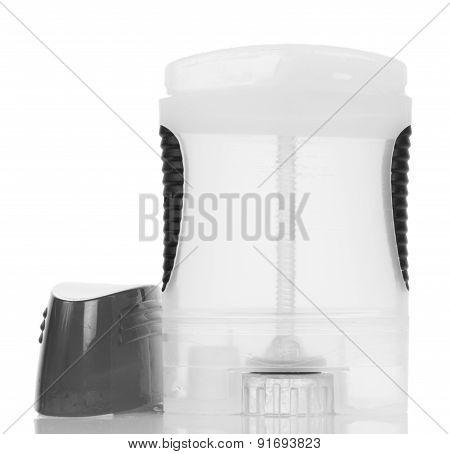 Opened antiperspirant on white background