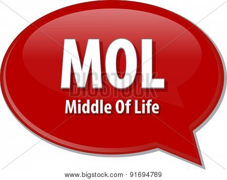 word speech bubble illustration of business acronym term MOL Middle of Life