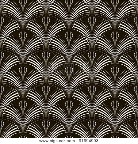 Seamless Pattern With Stylish Elements 2d Monochrome Texture. Modern Art Deco Print.