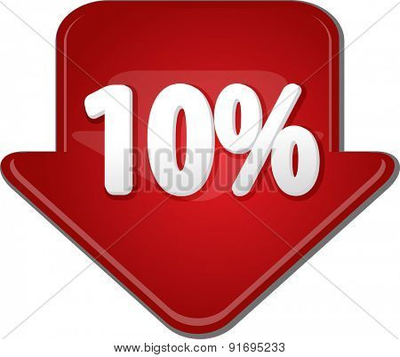 Downward glossy red arrow percent discount ten 10