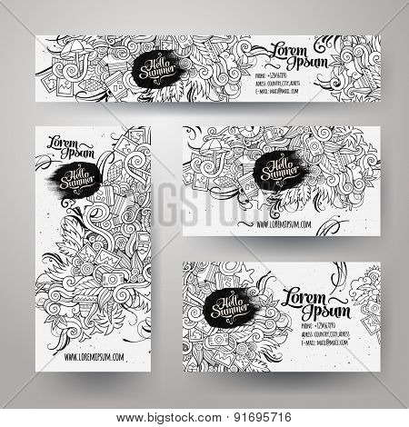 Corporate Identity templates set with doodles summer
