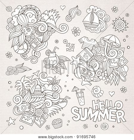 Summer and vacation vector symbols and objects