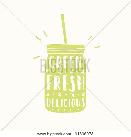 Green, fresh, delicious. Green jar silhouette.