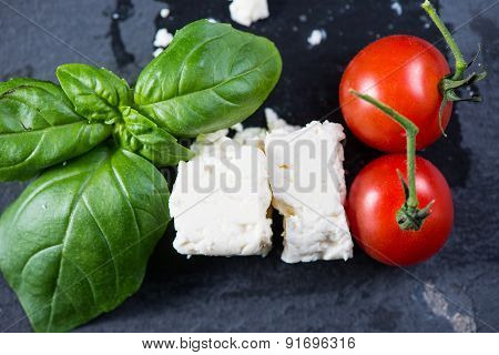 Italian Flag Made From Fresh Tipical Food On Black Background