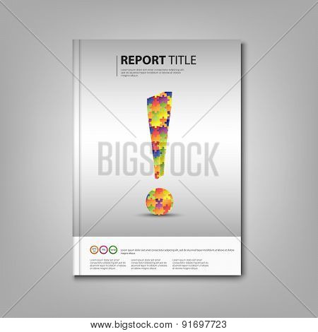 Brochures Book With Colored Exclamation Template