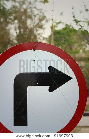 Traffic Sign Show The Turn Right On The Road.