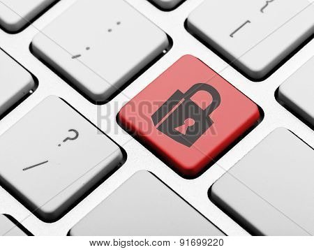 padlock icon on a computer key Online access concept