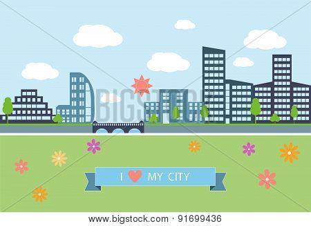 Flat design modern vector illustration  of urban landscape