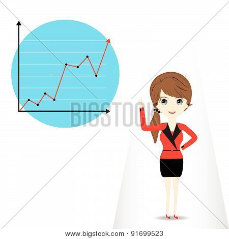 Young Woman Presenting Business Graph