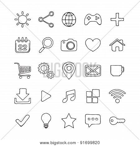 Hand drawn web icon set.