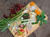 stock photo of thai food  - Ingredients Thai Food : TUM-YAM, Traditional food of Thailand on the old wood table closeup shot ** Note: Soft Focus at 100%, best at smaller sizes - JPG