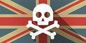 picture of skull crossbones flag  - Illustration of a UK flag icon with a skull - JPG