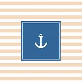 stock photo of navy anchor  - Nautical vector card or baby shower invitation with sailor anchor - JPG