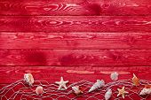 foto of marines  - Sea and marine items such as seashells on red wooden background - JPG