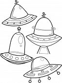 stock photo of flying saucer  - Line Art Illustration of Unidentified Flying Objects - JPG