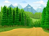 stock photo of coniferous forest  - Illustration of a Coniferous Forest with Mountains in the Background - JPG