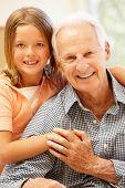 stock photo of granddaughter  - Senior man and granddaughter at home - JPG