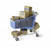 stock photo of cart  - Boxes in Shopping Cart with clipping path - JPG