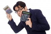 picture of cheater  - Funny man with calculator isolated on white - JPG