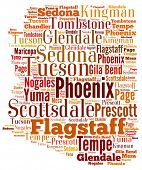 stock photo of state shapes  - Word Cloud in the shape of Arizona showing some of the cities in the state - JPG