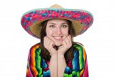 picture of vivid  - Pretty mexican girl in vivid poncho isolated on white - JPG
