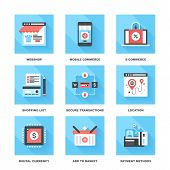 picture of payment methods  - Vector set of flat digital commerce icons on following themes  - JPG