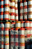 picture of keg  - Large stack of colorful aluminum beer kegs outside one of the numerous microbrew beer breweries in Oregon - JPG