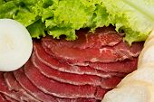 image of korean  - Raw fresh thinly sliced meat with lettuce - JPG