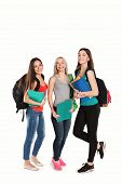 stock photo of united we stand  - three students girl with copybooks standing together on a white background - JPG